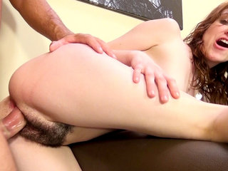 Emma Evins gives a taste of her hairpie to a horny dude